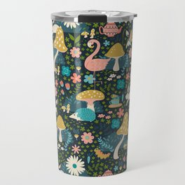 Wondering in Wonderland - Blue + Gold Travel Mug