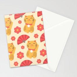 Japanese Lucky Cat Fan Flower Pattern Cute Stationery Cards
