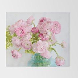 Dreamy Shabby Chic Ranunculus Peonies Roses Print - Spring Summer Garden Flowers Mason Jar Throw Blanket