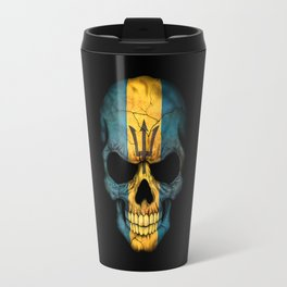 Dark Skull with Flag of Barbados Travel Mug