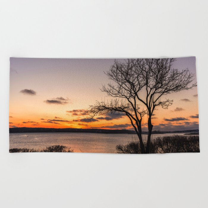 Tree silhouette at sunset Beach Towel