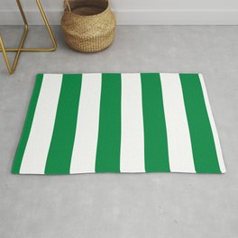 Classic Cabana Stripes in White + Kelly Green Rug