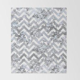 Vintage chic elegant blue gray white geometrical floral pattern Throw Blanket