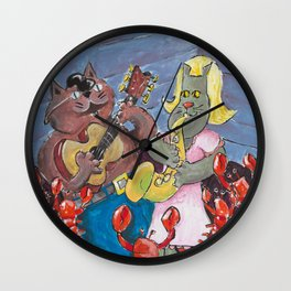 New Orleans Cats Wall Clock