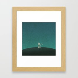 Small winged polka-dotted beige cat Framed Art Print