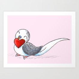 Little Budgie Heart Art Print