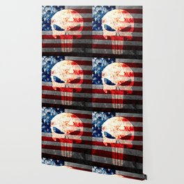 Punisher Themed Skull and American Flag on Distressed Metal Wallpaper
