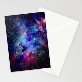 Blue Glitter Galaxy Stationery Cards