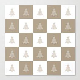 Rustic Beige Christmas Tree Woodland Pattern Canvas Print
