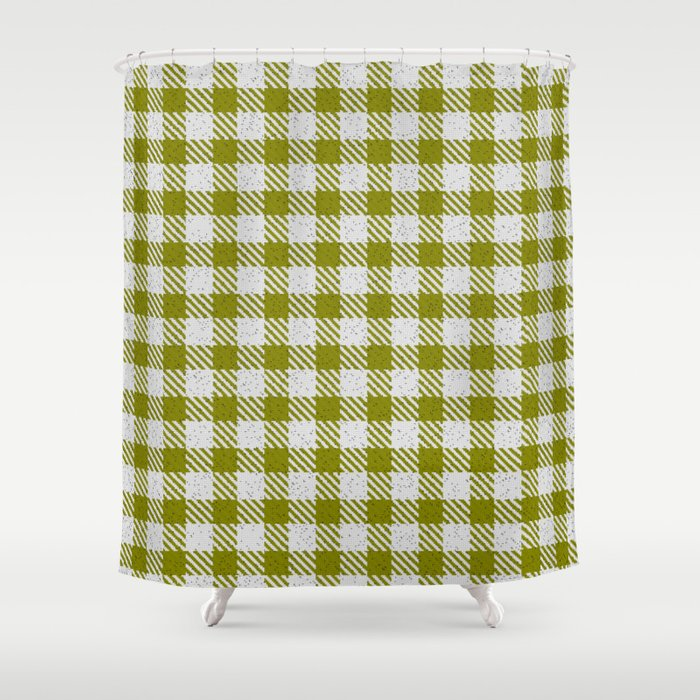 Olive Buffalo Plaid Shower Curtain