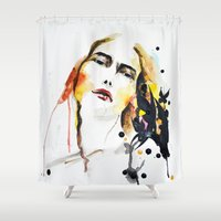 grateful dead Shower Curtains featuring Grateful by Mitra Art
