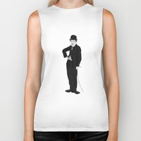 charlie chaplin Biker Tanks featuring Charlie Chaplin by liamgrantfoto