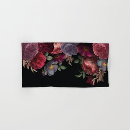 Vintage & Shabby Chic - Night Antique Redoute Roses Frame On Black Hand & Bath Towel