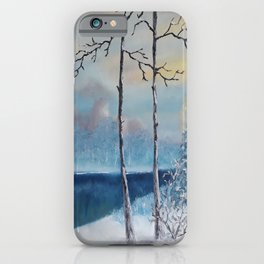 Sunrise at the lake, Beautiful Modern Oil Painting on Canvas, Landscape iPhone Case