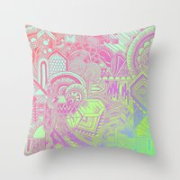 hologram Throw Pillows featuring Hologram Wave by michiko_design