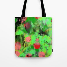 Red dots on green Tote Bag