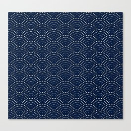 Japanese Blue Wave Seigaiha Indigo Super Moon Pattern Canvas Print