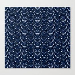 Japanese Blue Wave Seigaiha Indigo Super Moon Pattern Canvas Print