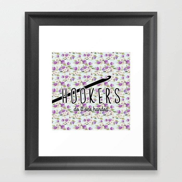 05e71ec5 hookers do it one handed funny crochet Framed Art Print by hellohappy |  Society6