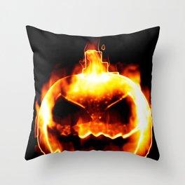 Halloween smiling pumpkin head Throw Pillow