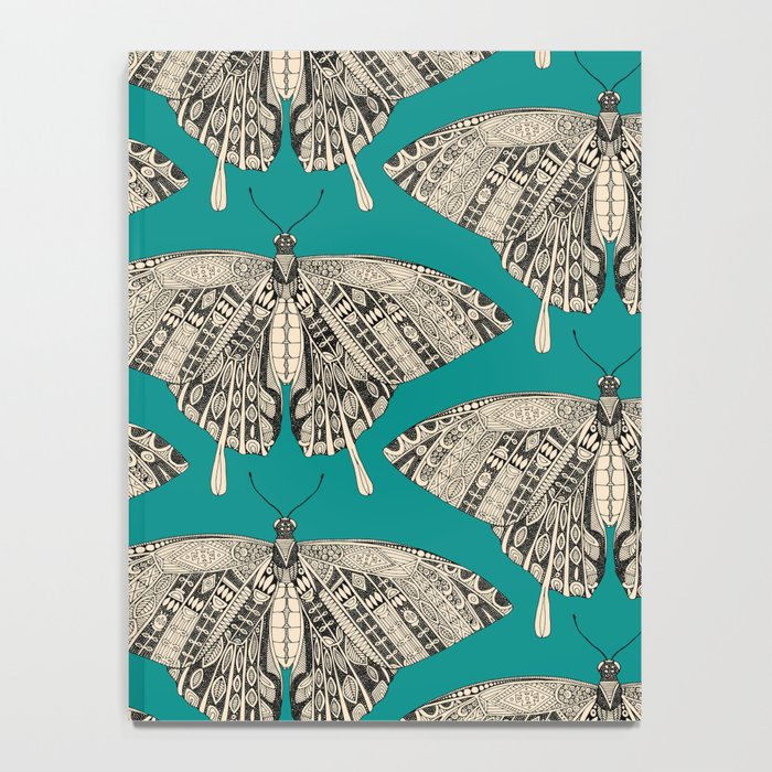 swallowtail butterfly teal black Notebook