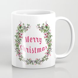 Merry Christmas Flower Wreath Coffee Mug