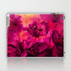 floral in deep pink and yellow Laptop & iPad Skin
