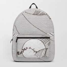 Two Moons Stencil,19th century Japan Backpack