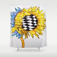 you are my sunshine Shower Curtains featuring You Are My Sunshine by The Blue Sardine_Art by Terri Price