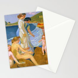 12,000pixel-500dpi - Maurice Denis  - Bathers At Perros Guirec - Digital Remastered Edition Stationery Cards