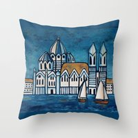 italy Throw Pillows featuring italy by Ninamelusina