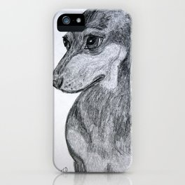 Dachshund Pet Portrait Drawing iPhone Case