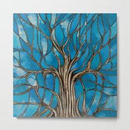 Mystic Tree of Life Mosaic Blue Watercolor Metal Print