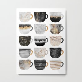 Pretty Coffe Cups 3 - White Metal Print