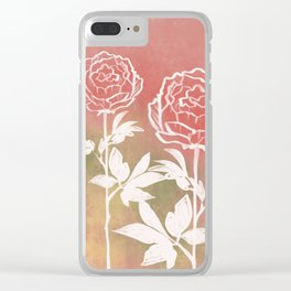 Three Peonies Clear iPhone Case