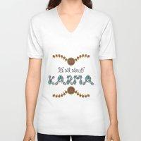 karma V-neck T-shirts featuring Karma by famenxt