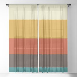 70s Sunset Colorful Color Block Minimalist Stripes Pattern Sheer Curtain