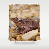 frog Shower Curtains featuring Frog by MehrFarbeimLeben