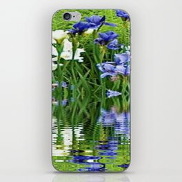 BLUE & WHITE IRIS WATER REFLECTION ART iPhone Skin