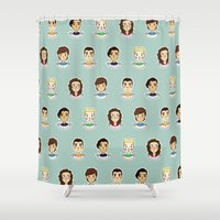 1d Shower Curtains featuring 1d doodle boys by vulpae