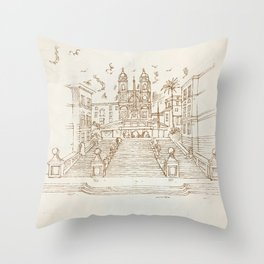 piazza di spagna in rome hand draw Throw Pillow
