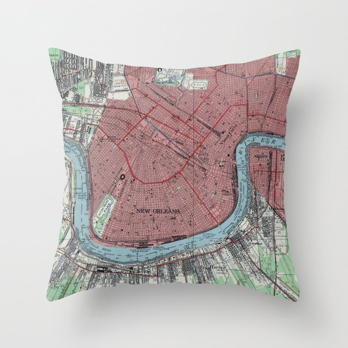 Vintage Map Of New Orleans Louisiana 1954 Throw Pillow