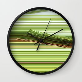 Green Strips Abstract Wall Clock