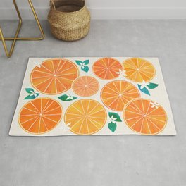 Orange Slices With Blossoms Rug