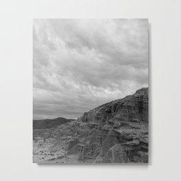 Red Rocks in Black & White Metal Print