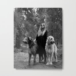 Cecilie and the wolfhounds. Metal Print