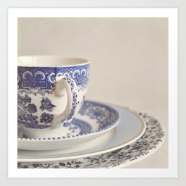 China cup and plates. Art Print
