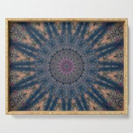 Delicate Navy Blue Bohemian Mandala Serving Tray