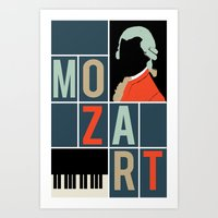 mozart Art Prints featuring Mozart  by Prelude Posters