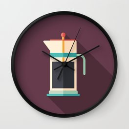 French Press Coffee Wall Clock